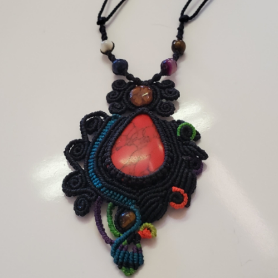 Aya And dyed Red Howlite With Amethyst And Tigers Eye