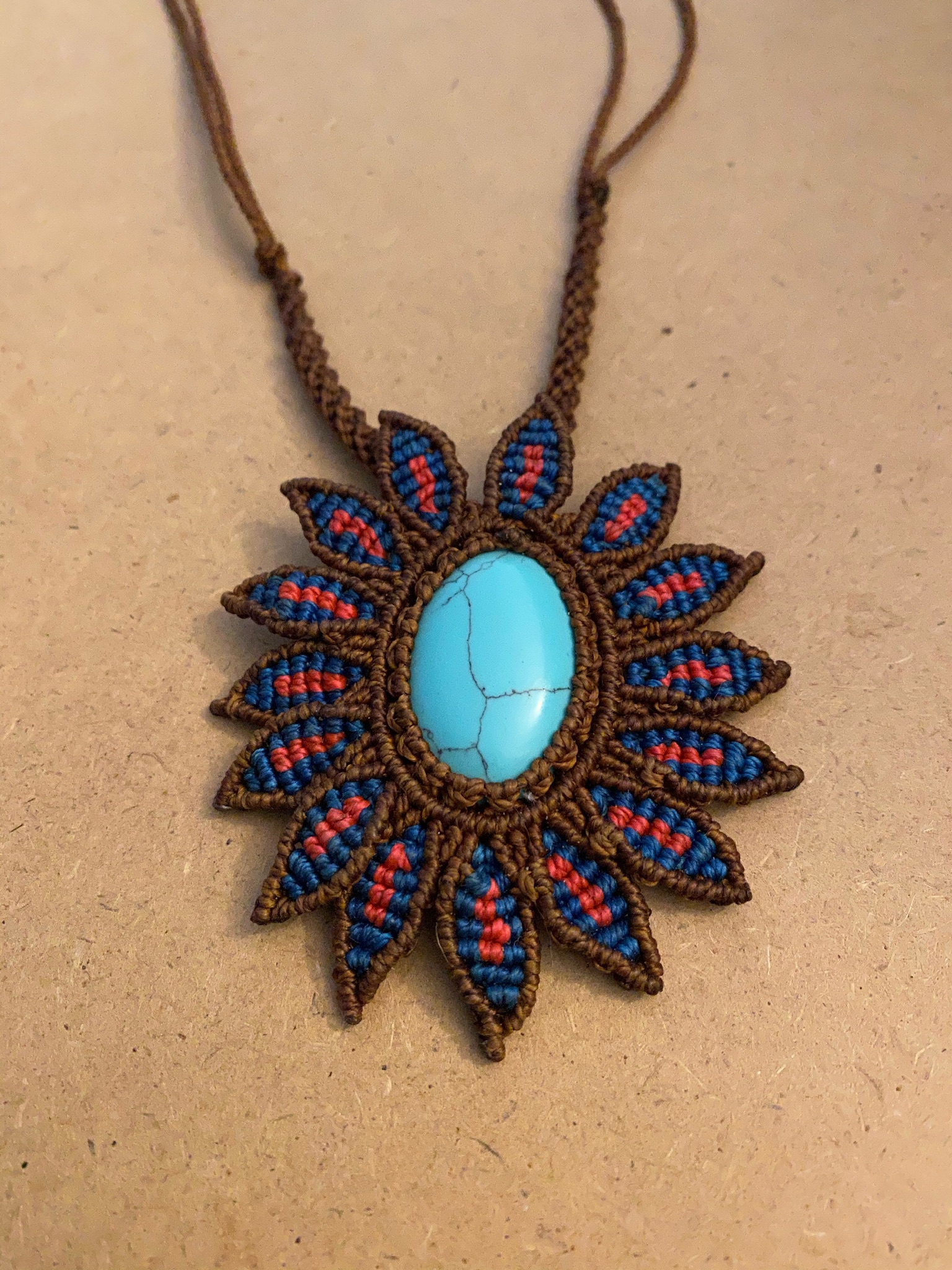 Turquoise Howlite (dyed) Blue/Pink Sunflower