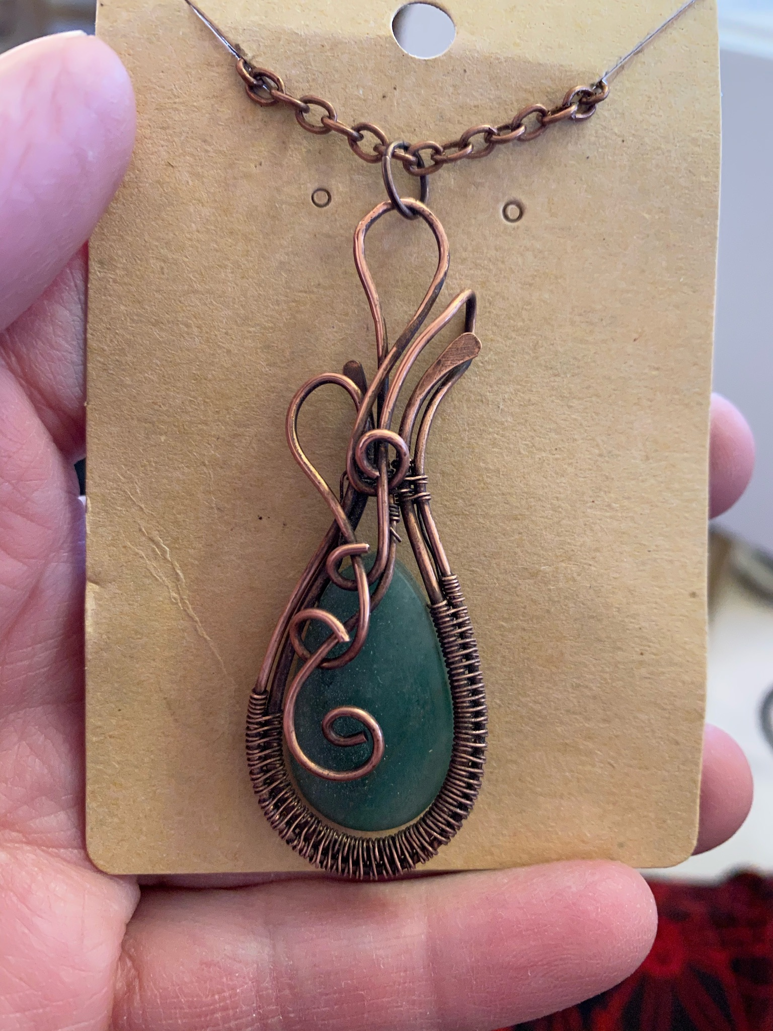 Copper Wrapped Moss Agate Pendant